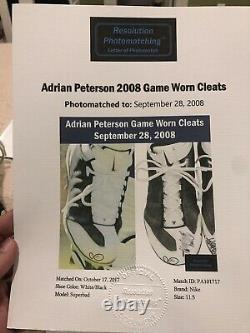 2008 Adrian Peterson Game Worn Signed Cleats 2tds Against Titans Photo Matched