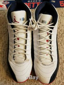 2017 Boston Red Sox Game Used Worn Mookie Betts Jordan Cleats MLB COA Patriot 12