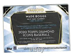 2020 Topps Diamond Icons Wade Boggs 2/3 auto game used cleat card Yankees HOF