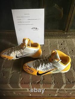 ANTONIO BROWN Steelers GAME USED Custom NIKE CLEATS Auto Autograph Signed COA