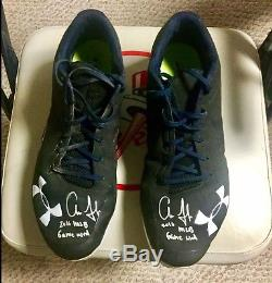 Aaron Judge 2016 ROOKIE Game Used Autographed Signed Under Armour Cleats. Yankees