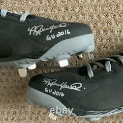 Andrew Benintendi 2016 GAME USED Cleats pair autograph SIGNED Red Sox worn