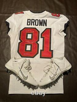 Antonio Brown Tb Auto Game Used Td Jersey Cleat Set Signed Coa Photo Proof