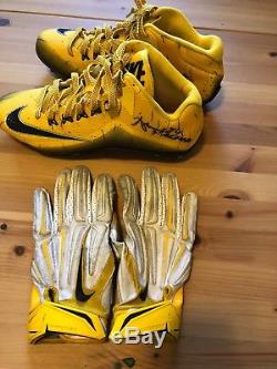 Auth NFL Pittsburgh Steelers Antonio Brown Signed Cleats And Game Used Gloves