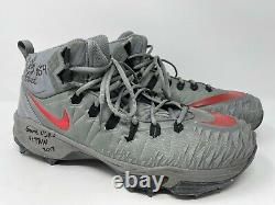 Billy Price Ohio State Football 2x All American GAME USED CLEATS 2017 Grey Wolf