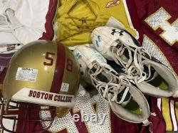 Boston College NCAA Game Worn & Issued Football Jersey Lot helmet cleats used BC