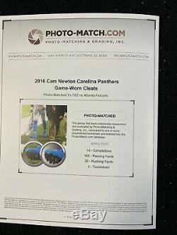 Cam Newton Autographed GAME USED CLEATS PHOTO MATCHED NFL CAROLINA 2015