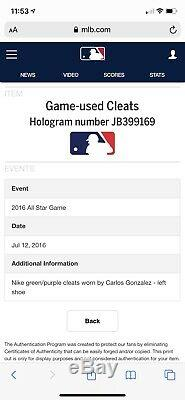Carlos Gonzalez Colorado Rockies Game Used Cleats 2016 ASG MLB Auth Signed