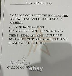 Carlos Gonzalez Colorado Rockies Game Used Cleats 2016 WBC Team Venezuela LOA