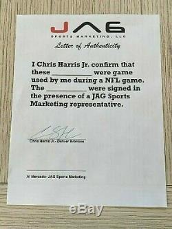Chris Harris Jr autographed signed Game Used Cleat Denver Broncos JAG LOA