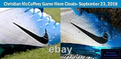 Christian McCaffrey 9/23/2018 Autographed Game Used Cleats CAREER RUSHING RECORD