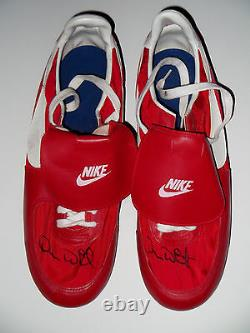 DEVON WHITE Dual Signed Game Used Red NIKE Cleats California Angels Auto PSA/DNA
