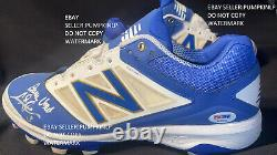 DODGERS CHRIS TAYLOR SIGNED/ INSCRIBED GAME USED CLEATS PSA In-The-Presence COA