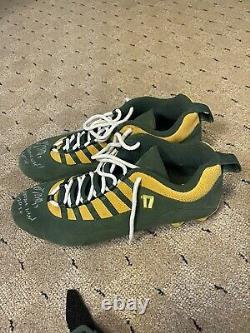 Davante Adams Game Used PE Air Jordan Signed & Inscribed Cleats Mamba Mentality