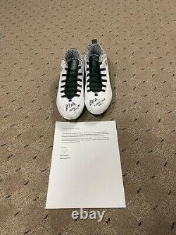Davante Adams Game Used PE Air Jordan Signed & Inscribed Cleats Week 12020 Minn