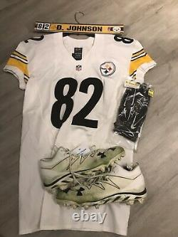 David Johnson Steelers signed Game Used Worn Jersey Cleats Nameplate Gloves Wuto