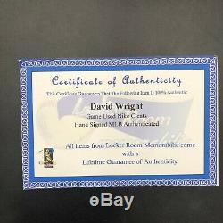 David Wright Signed Game Used Cleats David Wright, MLB, Locker Room COA Mets
