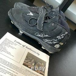 Derek Jeter 11th Yankee Captain Signed Heavily Inscribed Game Used Cleats JSA