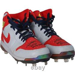 Dexter Fowler Cardinals Signed GU Gray and Red Cleats & Game Used 2020 Insc