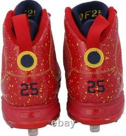 Dexter Fowler St. Louis Cardinals Signed GU Red Cleats & Game Used 2019 Insc