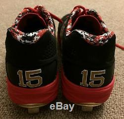 Dustin Pedroia JSA Game Used Autographed Cleats 2015 Boston Red Sox