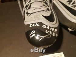 Eloy Jimenez Game Used Autographed Cleats Jsa Wp Pic Of Him Signing Included