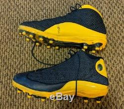 Game Used University of Michigan Wolverines Air Jordan 13 PE Football Cleats 16