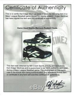 HOFer Seattle Mariners Edgar Martinez SIGNED Game Used Cleats + autographed COA