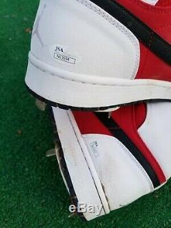 Hector Santiago Game Used Air Jordan Cleats Angels Baseball
