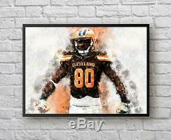 Jarvis Landry Signed & Game Used GU 16 Cleat (Left) JSA & 11x14 Art Print