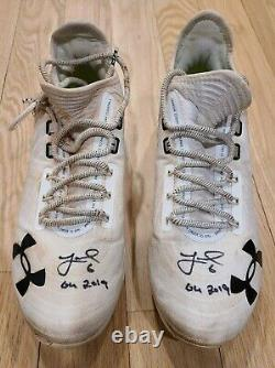 Jeff McNeil AUTO GAME USED 2019 Cleats Signed 3 times Insc GU Fanatics Authentic