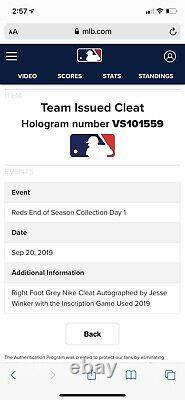 Jesse Winker Cincinnati Reds Game Used Cleats Signed MLB Auth 2019