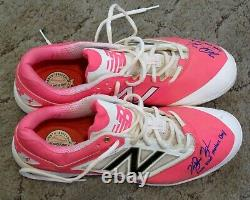 KeBryan Hayes Game Used & Autographed Pink Mother's Day Baseball Cleats LOA