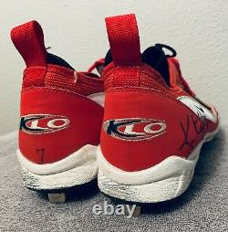 Kenny Lofton Game Used Autographed Cleats Collectable, Red and White VERY RARE