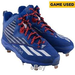 Kris Bryant Cubs Signed GU Blue with White Stripe Cleats & Game Used 2017 Insc