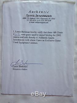 Lance Berkman Astros signed game used size 11.5 Nike cleats auto INS CBM COA