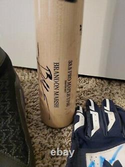 Los Angeles Angels #1 Prospect Brandon Marsh Game Used Bat Cleats Batting Gloves