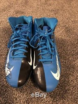 Luke Kuechly Game Used Cleats 2013 Signed Autographed