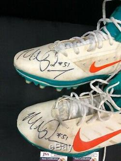 MIAMI DOLPHINS SIGNED MIKE POUNCEY GAME USED NIKE CLEATS WithJSA COA SIZE 14