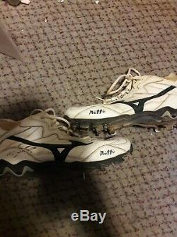 Miguel Tejada Signed Game Used Worn Cleats Oakland A's