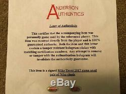 Mike Trout Anderson Authentics Game Used Autographed Insc. Cleats 2017 Angels