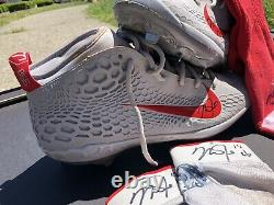 Mike Trout Dual Signed Game Used Worn 2018 Nike Shoes Cleats, Gloves And Socks