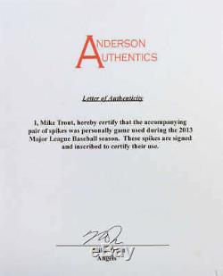 Mike Trout Signed Auto 2013 Game Used Cleats PSA/DNA MEARS Anderson Auth