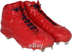 Mookie Betts Boston Red Sox Game-Used Red and Navy Jordan Cleats 2019 Season