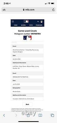 Mookie Betts Los Angeles Dodgers Game Used Air Jordan Cleats 2020 World Series