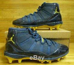 Nike Air Jordan XI 11 Football Cleat Michigan Sample PE GAME USED 12 Promo Blue