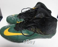 Packers MIKE DANIELS Signed 2016 Game Used NIKE Football Cleats AUTO Lot A