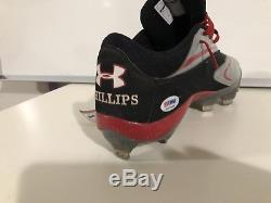 RARE Brandon Phillips Signed Game Used Worn Under Armour Cleats Reds PSA/DNA