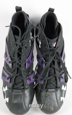 Ravens Ray Lewis Game Used Signed Size 12.5 Under Armour Cleats JSA Witness