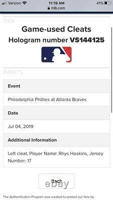 Rhys Hoskins Philadelphia Phillies Game Used Cleats 7/4/19 Vs Braves MLB COA USA